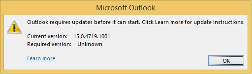 Block all Outlook versions earlier than