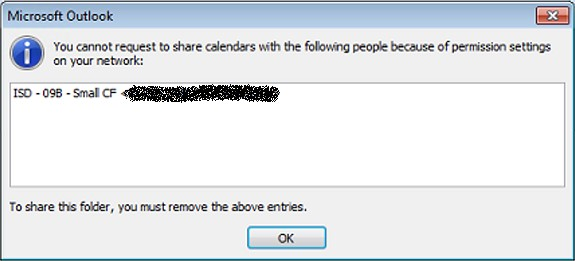 Outlook Calendar Sharing Error Message