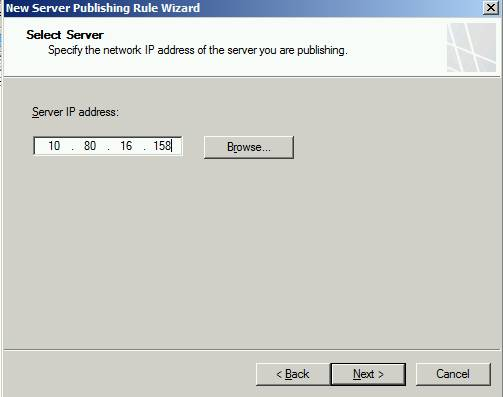 Figure 1: Select the Server to publish