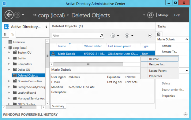 Configuring Active Directory Recycle Bin
