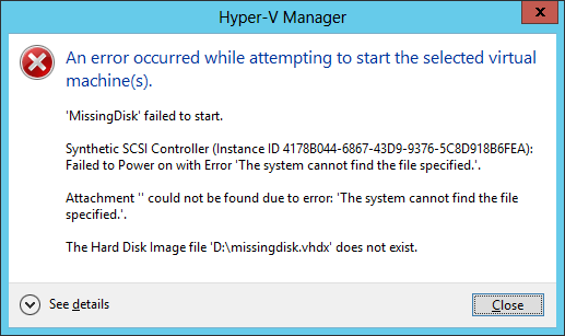 failed to start the machine because one of the hyper v components is not running