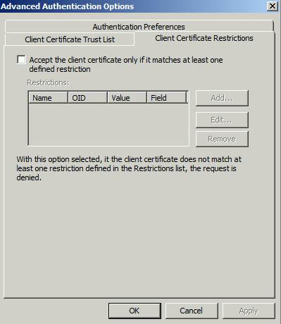 Figure 5: Client Certificate Restrictions