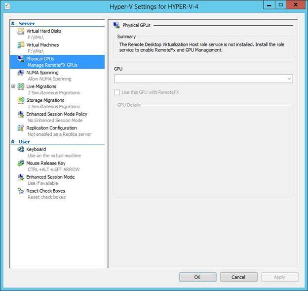 Enabling Physical GPUs in Hyper-V