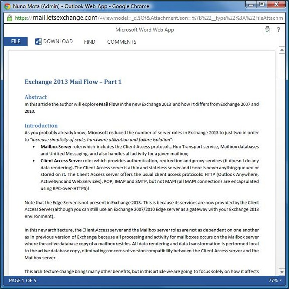 Exchange 2013 with Office Web Apps Server Integration
