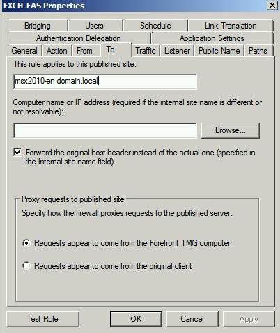 Figure 9: Avoiding error message 500 – Certificate principal name is wrong