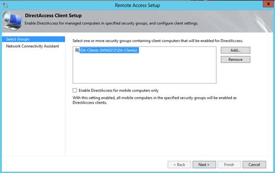 Figure 8: Changed settings to allow DirectAccess only for a specific computer group