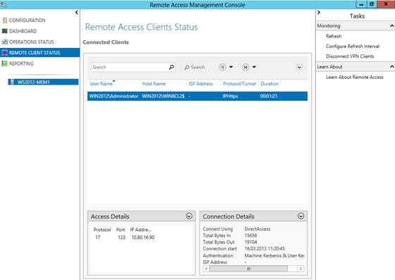 Figure 12: detailed connection information about the DirectAccess client
